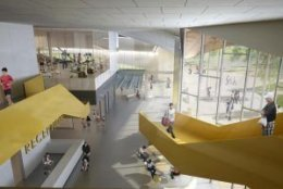 The atrium of the Long Bridge Park aquatics center, as shown by artist rendering. (Courtesy ARLNow/Chris Teale)