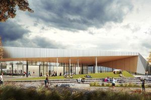 This rendering shows the exterior of the Long Bride Park aquatics center design, which County Board member John Vihstadt said would cost  $60 million. (Courtesy ARLNow/Chris Teale)