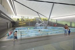 This rendering shows the plan for the family pool in the Long Bridge Park aquatics center. (Courtesy ARLNow/Chris Teale)