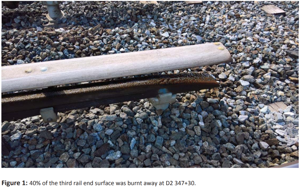 On the Orange Line between Deanwood and New Carolloton, a third-rail end surface is burnt away. (Courtesy FTA)
