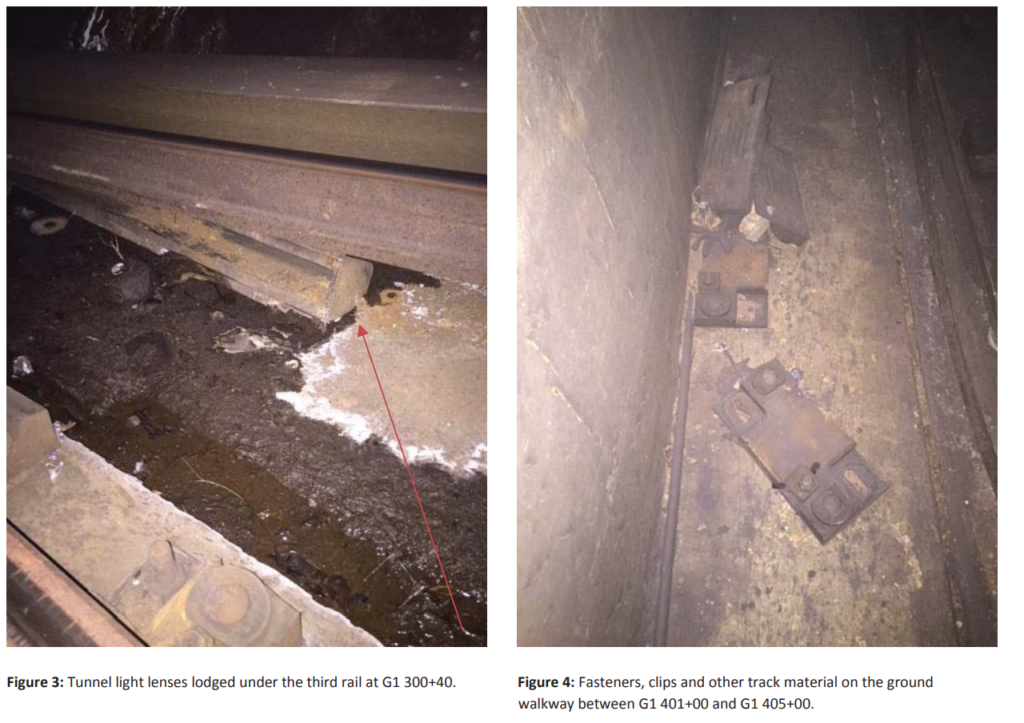 On the Blue Line in Maryland, light lens under rail and fasteners pose tripping hazard on emergency exit walk.  (Courtesy FTA)