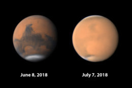 "From SkyandTelescope.com: ""A dust storm first noticed on Mars in late May has since engulfed the entire planets, as underscored by these images of the same hemisphere taken one month apart by amateur astronomers Damian Peach (left) and Christophe Pellier (right)."" (Sky & Telescope)"