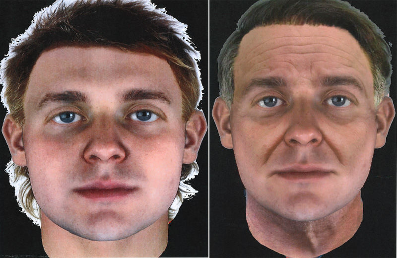 A Snapshot composite depiciting how the suspect in these cases may have looked based on DNA evidence left at the crime. To the left is a composite of how the suspect would have looked at 25, and to the right how he would have looked at 45. (Courtesy Montgomery County Police Department)