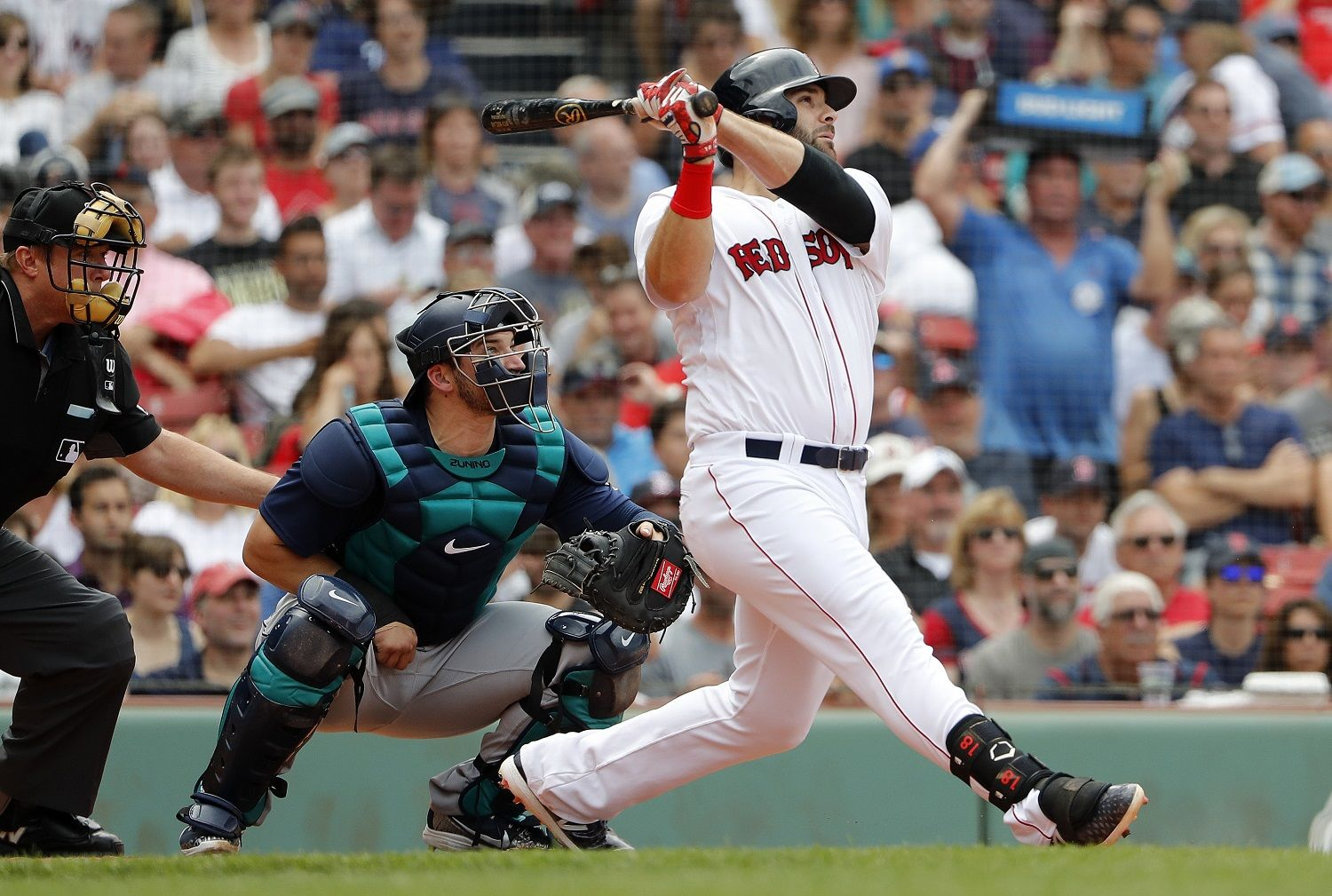 Boston Red Sox's Mitch Moreland watches a home run against the Seattle Mariners during the second inning of a baseball game Sunday, June 24, 2018 in Boston. (AP Photo/Winslow Townson)