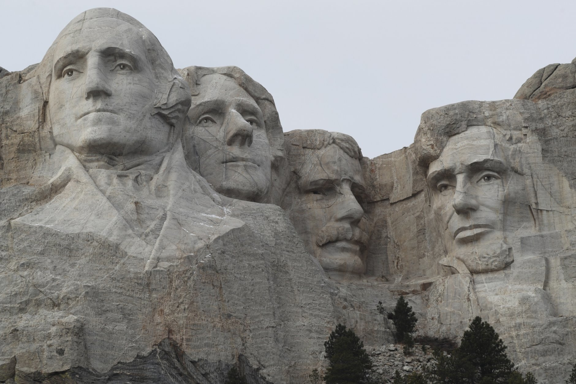 FILE - In this Dec. 9, 2016, file photo, the faces of the presidents that make up the Mount Rushmore monument are shown near Keystone, S.D. (AP Photo/David Zalubowski, File)