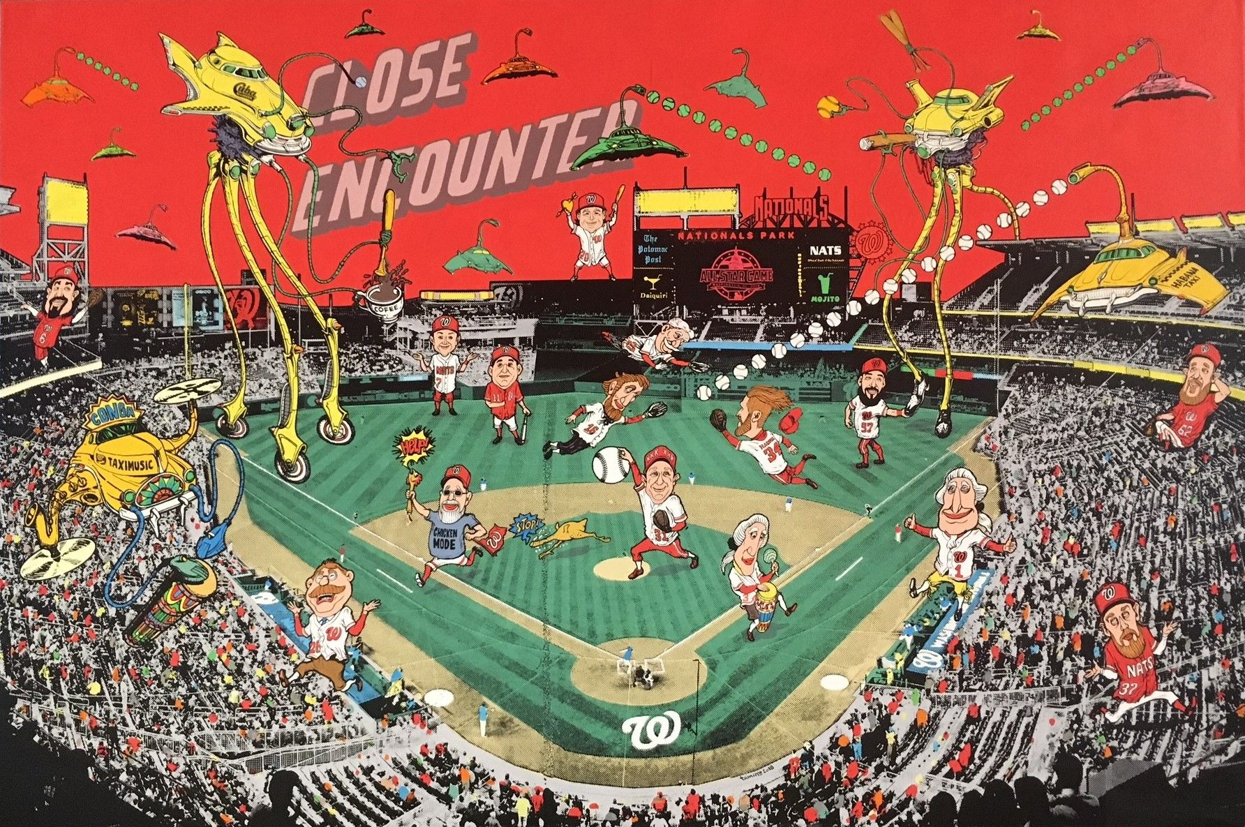 """The artist depicts a celebratory, """"War of the Worlds""""-like invasion of Nationals Park by Havana taxis. (WTOP/Noah Frank)"""