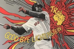 In one of several mashups of artist and ballplayer, Red Sox slugger David Ortiz channels Roy Lichtenstein.  (WTOP/Noah Frank)