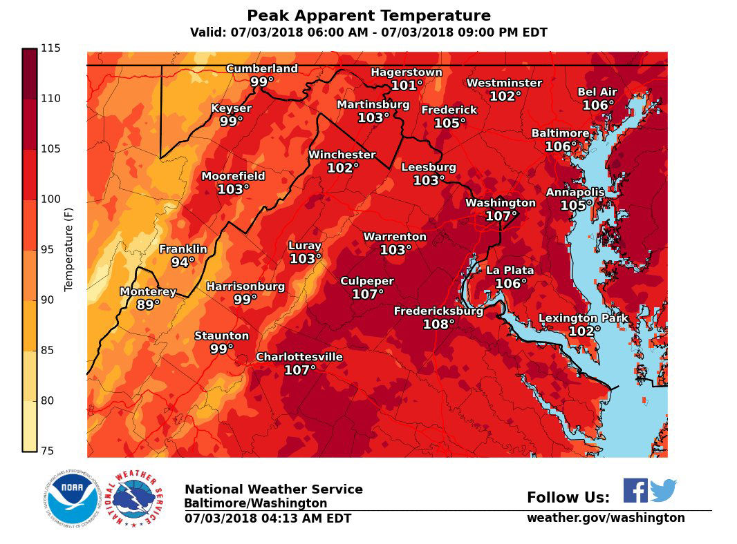 Temperatures will be brutal again on Tuesday. There is also the chance of thunderstorms, particularly north and west of the I-95 corridor. (Courtesy National Weather Service)
