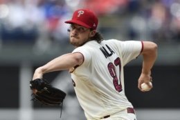 Philadelphia Phillies starting pitcher Aaron Nola in action during a baseball game against the Baltimore Orioles, Wednesday, July 4, 2018, in Philadelphia. (AP Photo/Derik Hamilton)