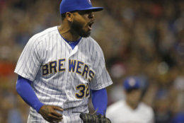 Milwaukee Brewers' Jeremy Jeffress reacts during the eighth inning of a baseball game against the Atlanta Braves Friday, July 6, 2018, in Milwaukee. (AP Photo/Aaron Gash)