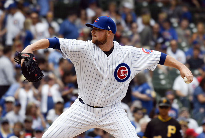 Chicago Cubs starting pitcher Jon Lester throws against the Pittsburgh Pirates during the first inning of a baseball game Saturday, June 9, 2018, in Chicago. (AP Photo/David Banks)