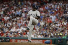New York Yankees' Luis Severino in action during a baseball game against the Philadelphia Phillies, Tuesday, June 26, 2018, in Philadelphia. (AP Photo/Matt Slocum)
