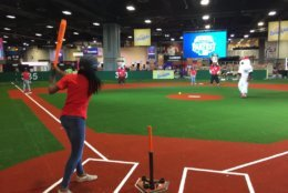 There are numerous practice diamonds around the All-Star FanFest space for participants to hit and field. (WTOP/Kristi King)
