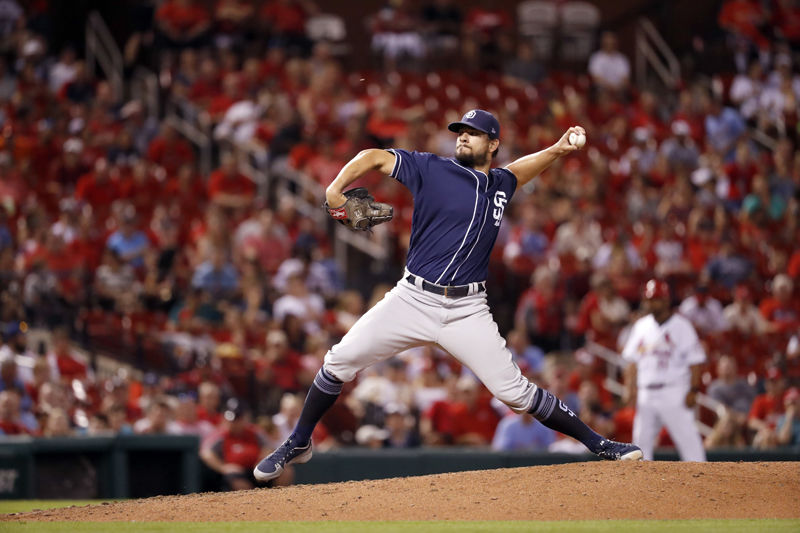 San Diego Padres relief pitcher Brad Hand throws during the ninth inning of a baseball game against the St. Louis Cardinals Tuesday, June 12, 2018, in St. Louis. (AP Photo/Jeff Roberson)