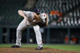 Boston Red Sox relief pitcher Craig Kimbrel prepares to throw to the Baltimore Orioles during a baseball game, Monday, June 11, 2018, in Baltimore. (AP Photo/Patrick Semansky)