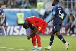 Belgium's Romelu Lukaku reacts after missing a scoring chance during the semifinal match between France and Belgium at the 2018 soccer World Cup in the St. Petersburg Stadium, in St. Petersburg, Russia, Tuesday, July 10, 2018. (AP Photo/David Vincent)