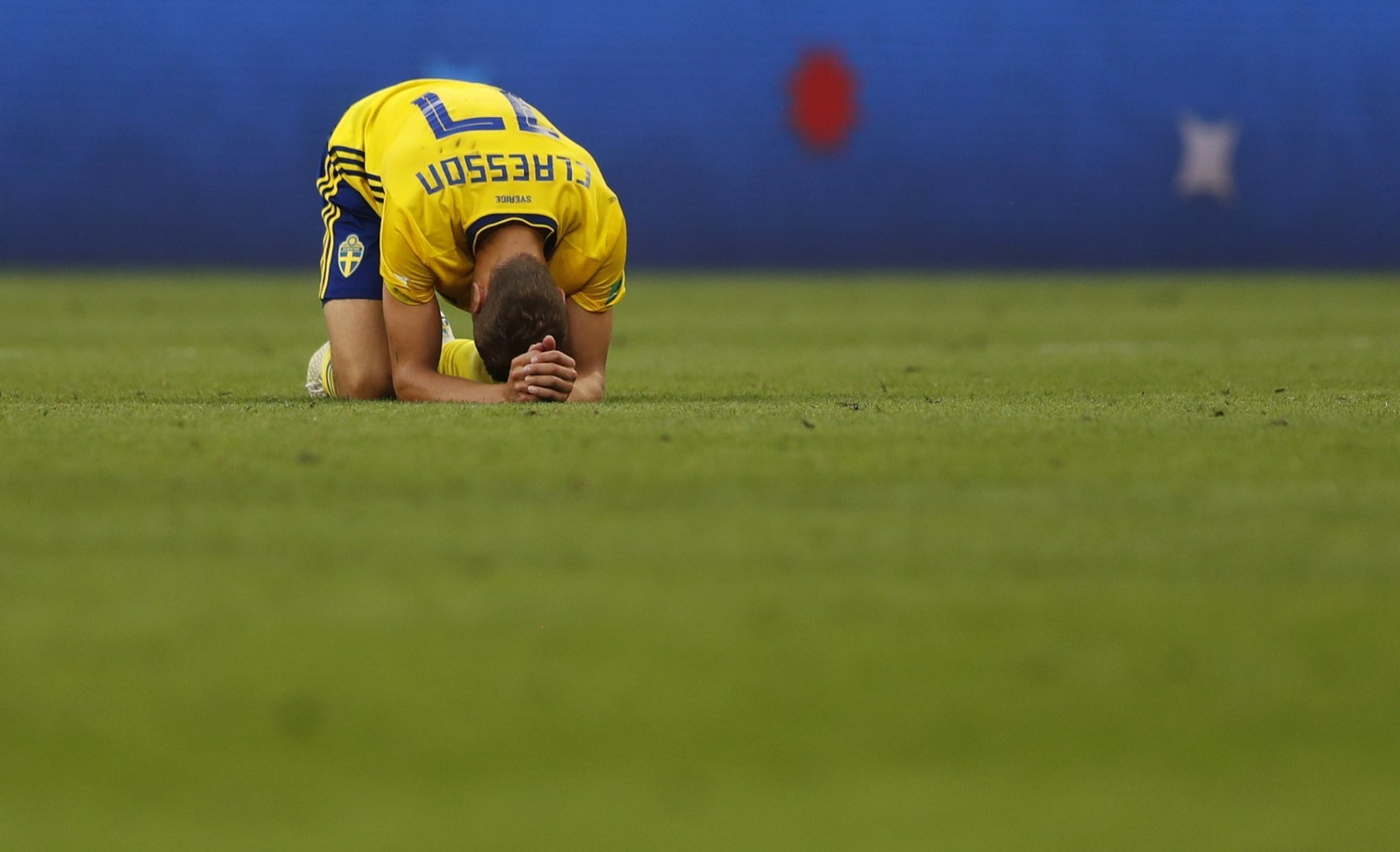 Sweden's Viktor Claesson reacts after the quarterfinal match between Sweden and England at the 2018 soccer World Cup in the Samara Arena, in Samara, Russia, Saturday, July 7, 2018. (AP Photo/Frank Augstein)