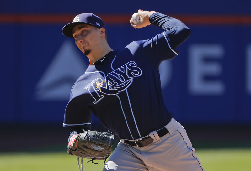 Tampa Bay Rays starting pitcher Blake Snell delivers against the New York Mets during the first inning of a baseball game, Saturday, July 7, 2018, in New York. (AP Photo/Julie Jacobson)
