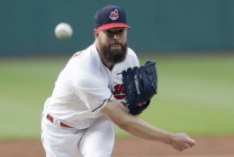 Cleveland Indians starting pitcher Corey Kluber delivers in the first inning of a baseball game against the Minnesota Twins, Friday, June 15, 2018, in Cleveland. (AP Photo/Tony Dejak)