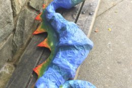 This sea horse was made by a child attending Carousel Animals Camp For Teens at Glen Echo Park. (WTOP/Kristi King)