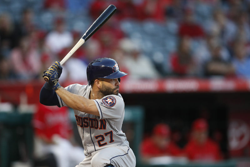 Houston Astros' Jose Altuve prepares for an at-bat during the first inning of a baseball game against the Los Angeles Angels, Monday, May 14, 2018, in Anaheim, Calif. (AP Photo/Jae C. Hong)