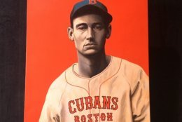 A depiction of Ted Williams, whose Latino heritage was explored in a PBS documentary this week. (WTOP/Noah Frank)