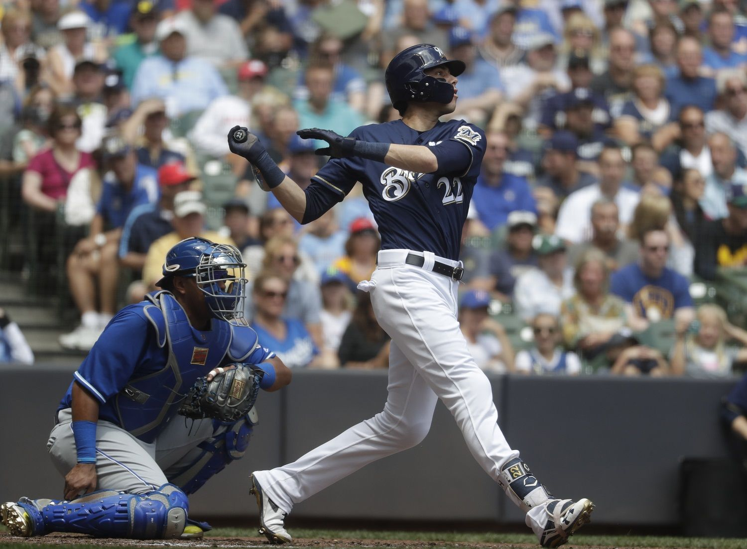 Milwaukee Brewers' Christian Yelich hits a double during the third inning of a baseball game against the Kansas City Royals Wednesday, June 27, 2018, in Milwaukee. (AP Photo/Morry Gash)