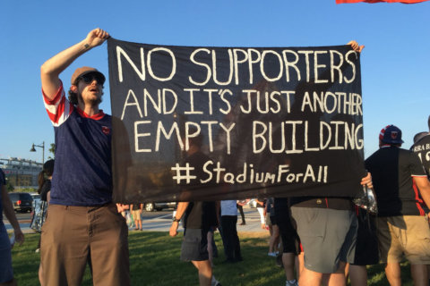 Fans protest outside DC United's first game at Audi Field