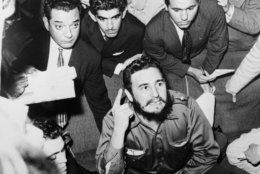 "At the Hotel Excelsior, in Sao Paulo, Brazil, Fidel Castro holds a brief news conference, April 30, 1959, in which he said: ""Batista [former dictator Fulgencio Batista] will not come back. He is definitely destroyed as a politician.""  (AP Photo)"
