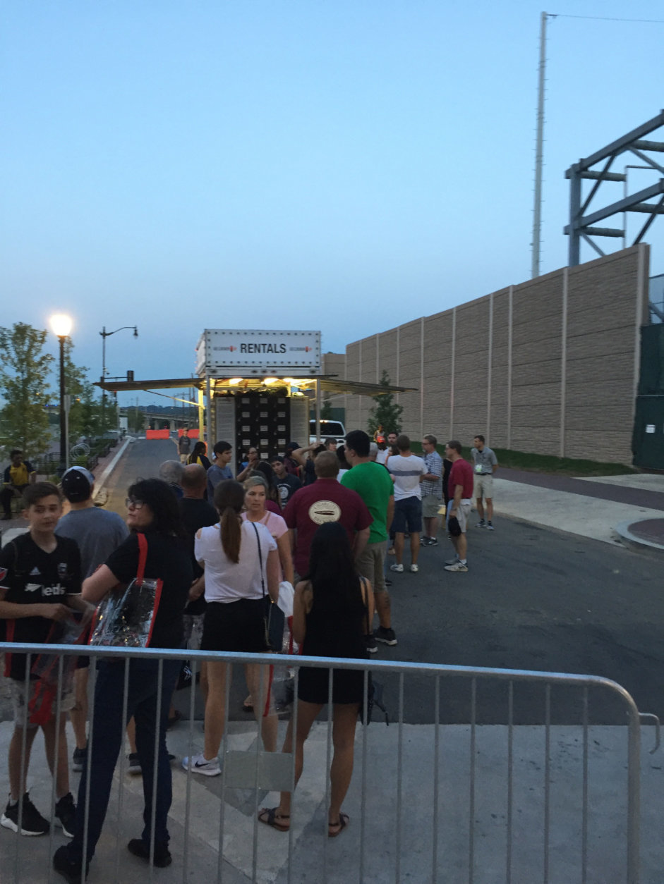 Fans wait in line for locker rentals to in which to put their belongings during a D.C. United Game at Audi Field on Saturday, July 28, 2018. (Courtesy Laurie Ehrsam)