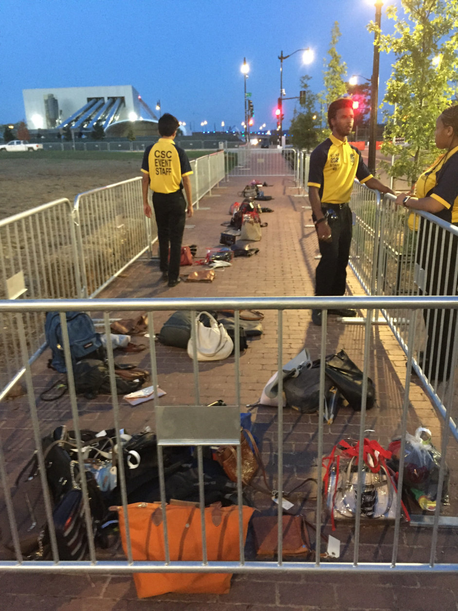 When the stadium ran out of lockers, Laurie Ehrsam tells WTOP that game attendees were told they could leave their belongings free of charge outside within the vicinity of event workers. (Courtesy Laurie Ehrsam)