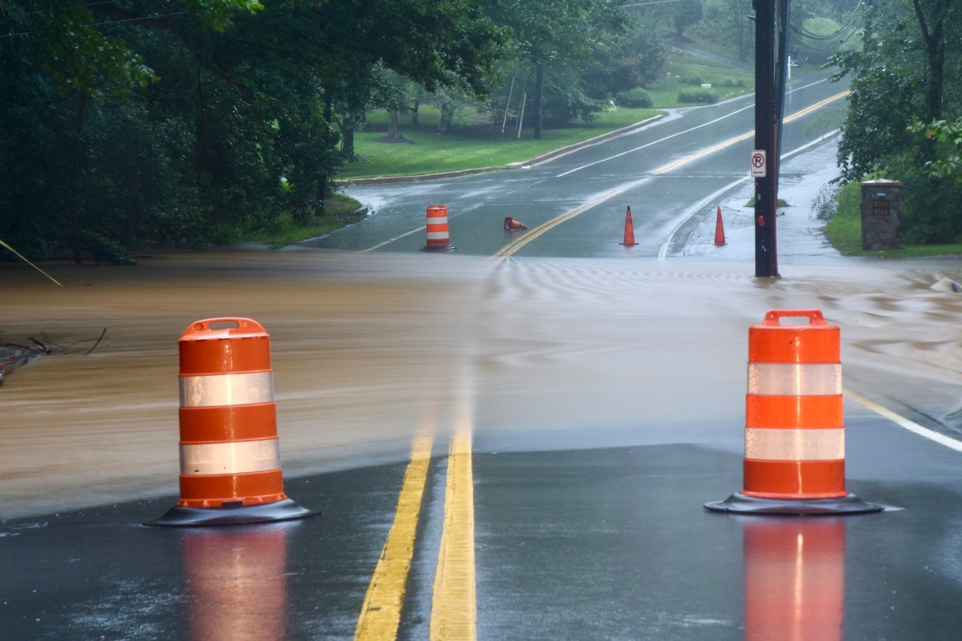Bradley Boulevard on River Road is a scene of a reported water rescue on Saturday, July 21, 2018. (WTOP/Dave Dildine)