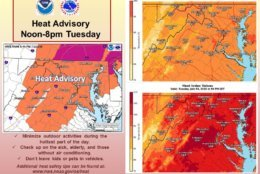 """The National Weather Service has issued a heat advisory from noon to 8 p.m. """"Remember to stay hydrated, limit strenuous outdoor activities, and wear lightweight, light-colored, loose-fitting clothing,"""" The NWS says. (Courtesy National Weather Service)"""