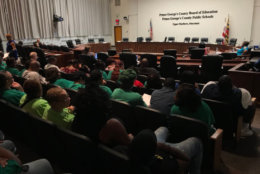 Attendees wait for the start of a Prince George's County School Board meeting on Thursday, July 12, 2018. (WTOP/Michelle Basch)