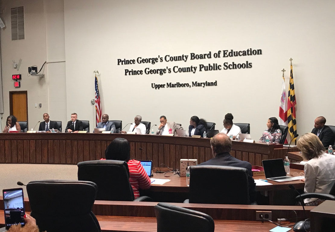 Members of the Prince George's County School Board meet to address and vote on the severance package of outgoing schools CEO Kevin Maxwell on Thursday, July 12, 2018. (WTOP/Michelle Basch)