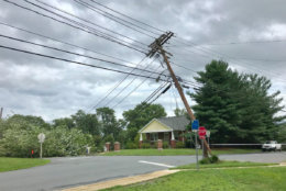 Ground around the D.C. area is saturated with water from all the recent rain. The National Weather Service has warned residents to watch out for tree toppling. But, it seems even utility poles may be a hazard.  (Courtesy Montgomery County Fire and Rescue's Pete Piringer via Twitter @mcfrsPIO)