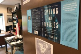 """Pyenson authored """"Spying on Whales: The Past, Present, and Future of the Earth's Most Awesome Creatures."""" It tells the scientific story behind their evolution, their extreme biology and their complicated relationships with humans. (WTOP/Megan Cloherty)"""