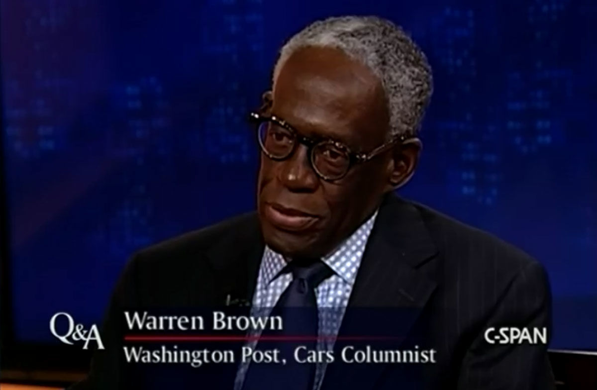 Warren Brown, The Washington Post reporter and columnist who covered the automotive industry, died Thursday, July 26, 2018 at age 70. (Screenshot via C-SPAN video)
