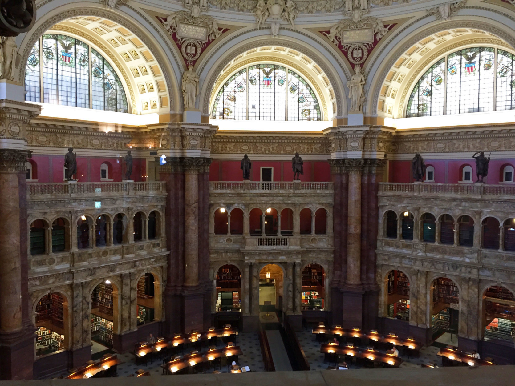 """<p><strong>Linger at the Library</strong></p> <p>Have a book-lover in town? <a href=""""https://www.loc.gov/visit/"""" target=""""_blank"""" rel=""""noopener noreferrer"""">The Library of Congress</a> should keep her occupied for a few hours.</p> <p>Guests can take a free one-hour guided tour of the building, or sit in one of the library&#8217;s breathtaking reading rooms, which are organized by subject, language and format.</p>"""