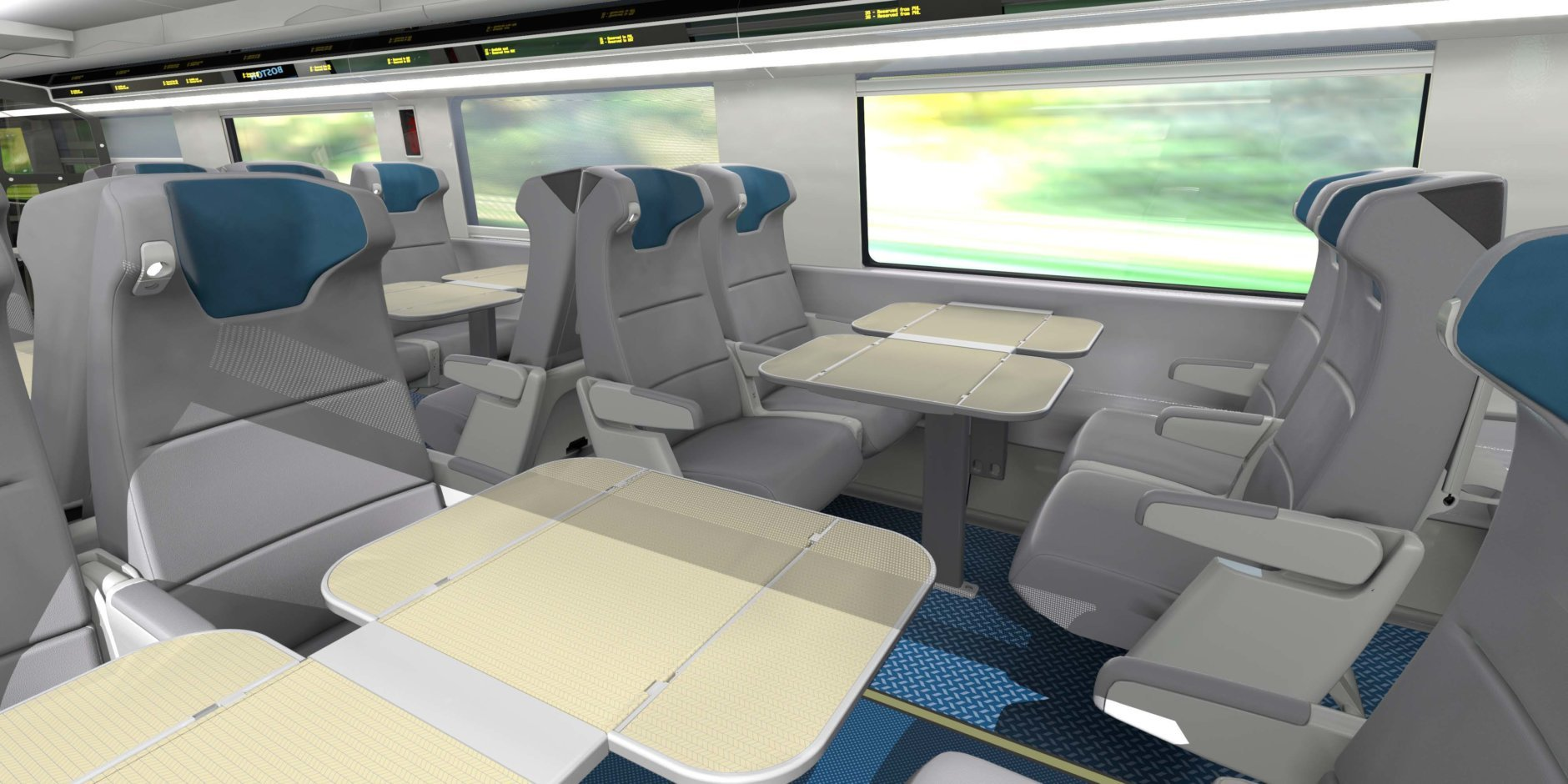 Amtrak is touting will provide spacious, high-end comfort with in-seat lighting and personal electrical outlets. (Courtesy Amtrak)