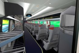 A streamlined overhead luggage storage will be offered in the new Acela trainsets. (Courtesy Amtrak)