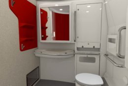 The new Acela trains feature spacious ADA-compliant restrooms with a 60-inch diameter turning radius. (Courtesy Amtrak)