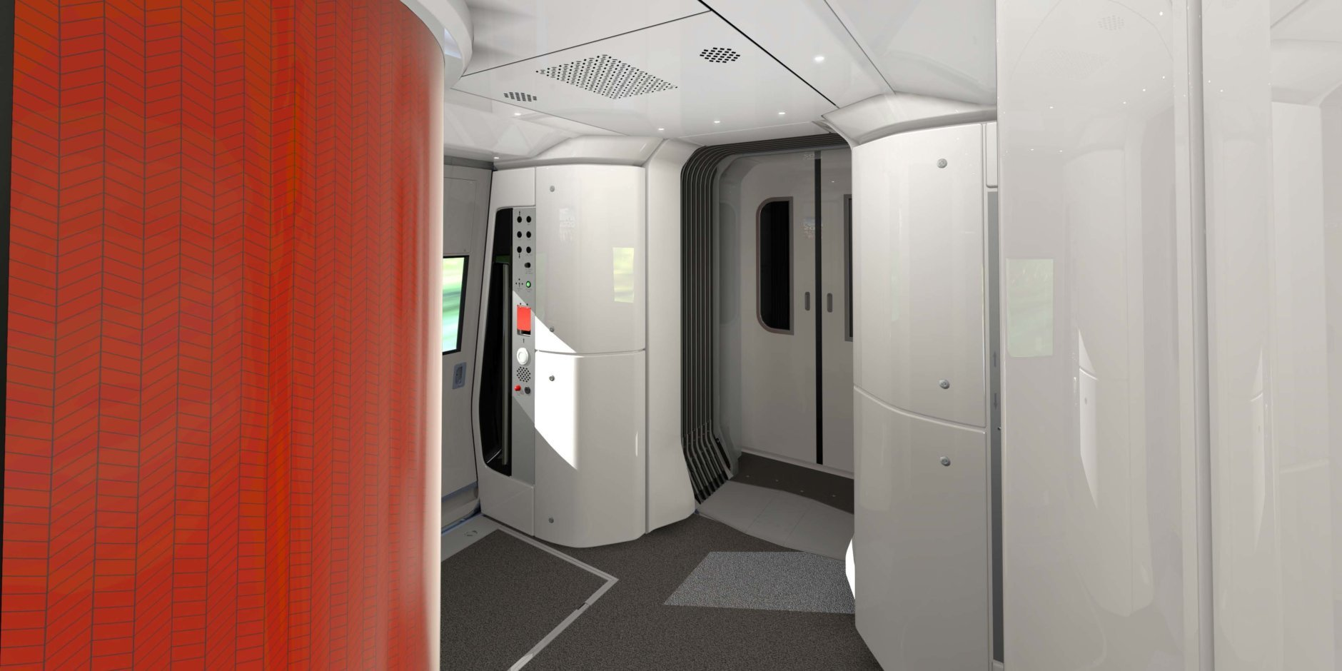 Articulated vestibules allow customers to easily and smoothly move between train cars. (Courtesy Amtrak)