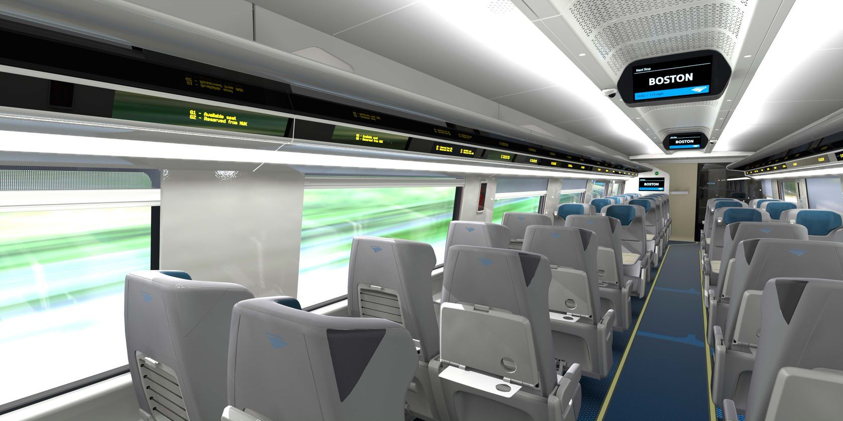 Amtrak says each seat in the new Acela trainsets will be equipped with dual tray tables providing customers with a large and small table option. (Courtesy Amtrak)