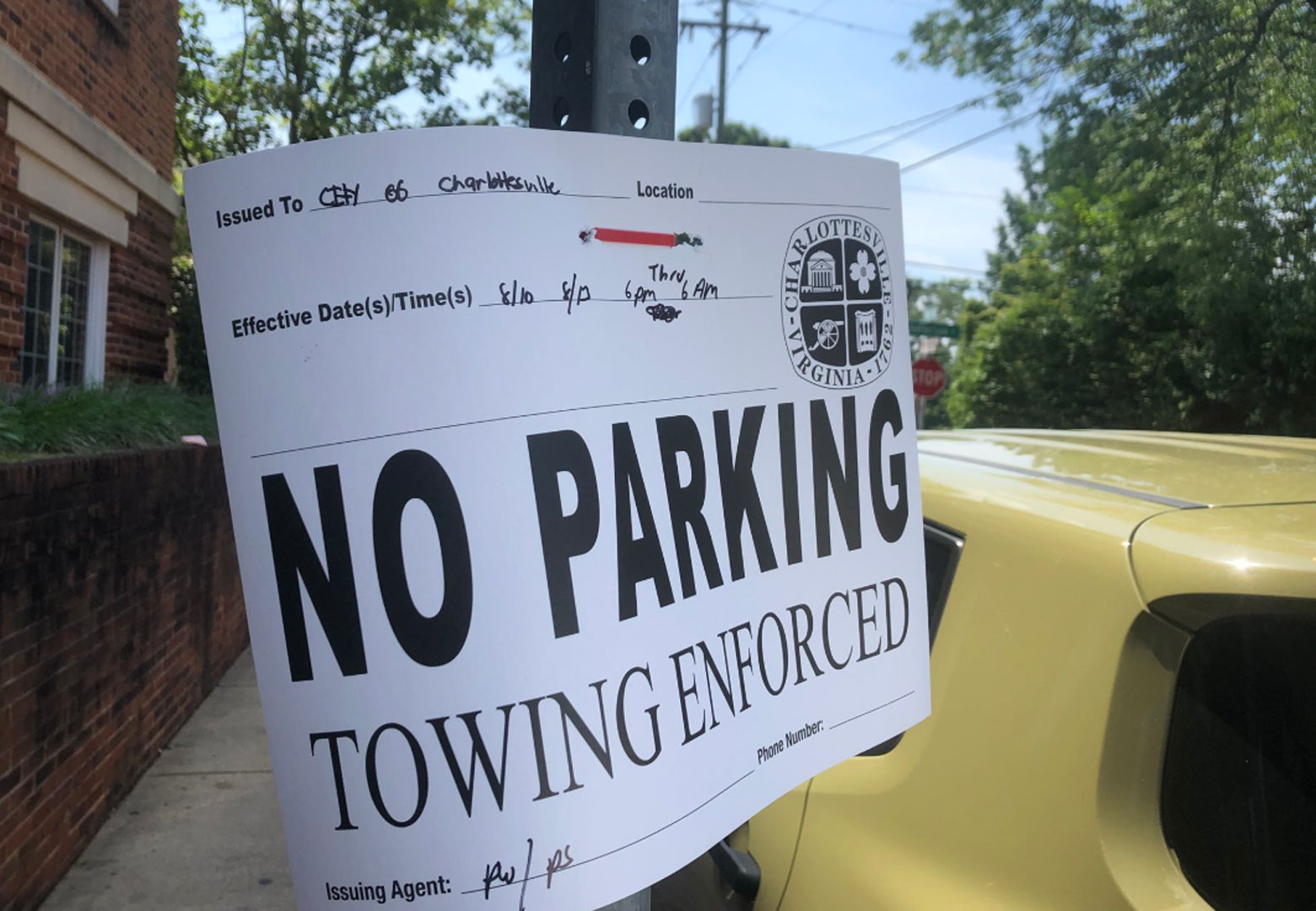 """No parking"" signs dot Charlottesville. (WTOP/Max Smith)"