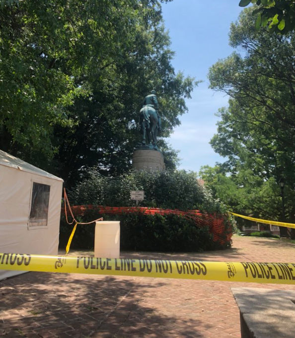 The Stonewall Jackson monument is barricaded off. (WTOP/Max Smith)