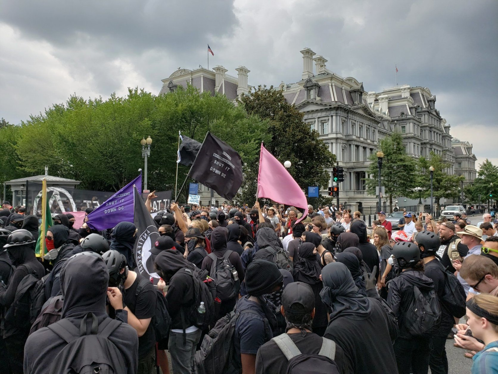 "Anti-Fascists demonstrating on Pennsylvania Avenue during Sunday's ""Unite the Right 2"" rally and counterrallies. (Courtesy Wilson Dizard)"