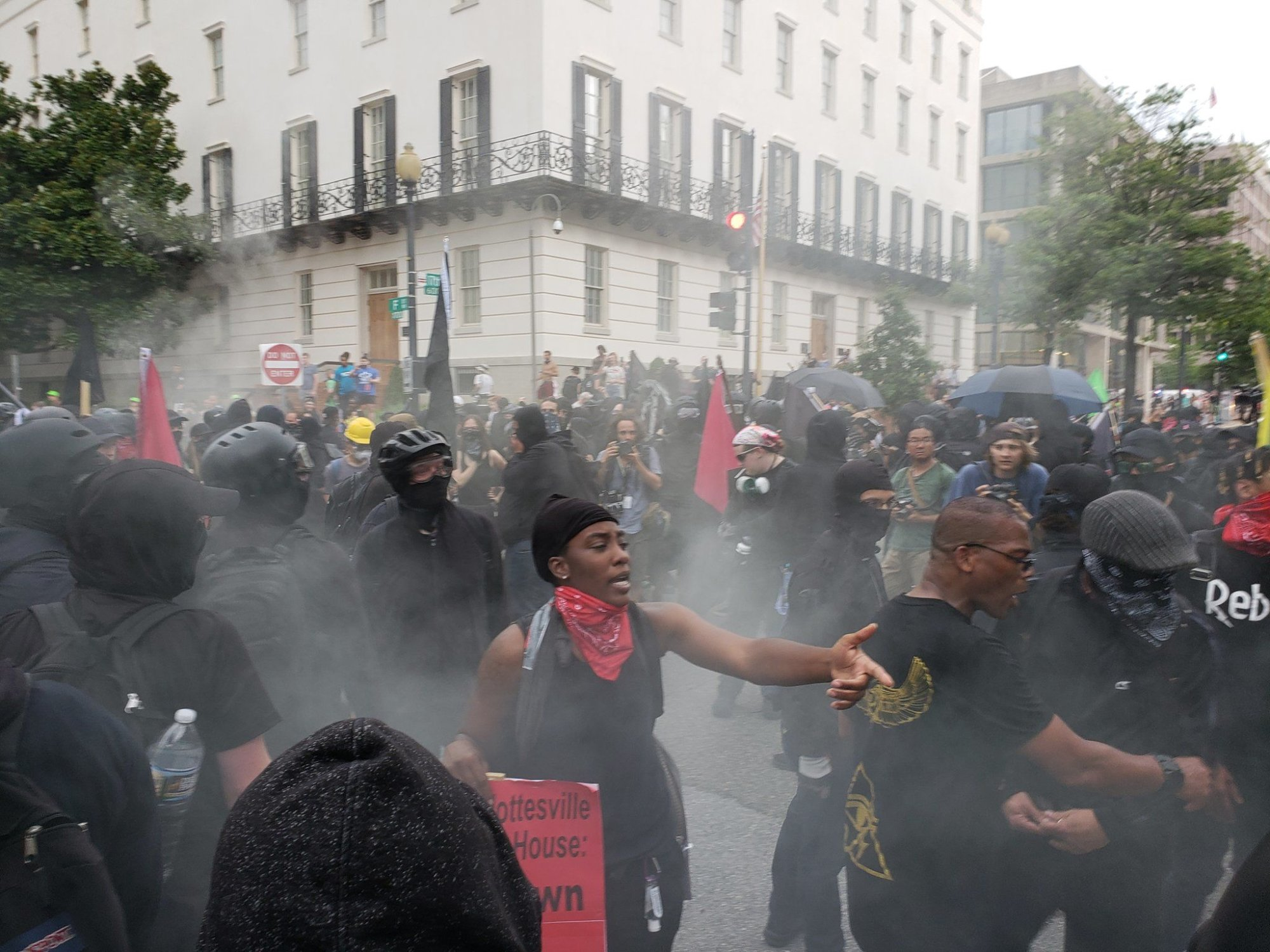 """Antifa counterprotesters take to the streets in D.C. during """"Unite the Right 2"""" Sunday. (Courtesy Wilson Dizard)"""