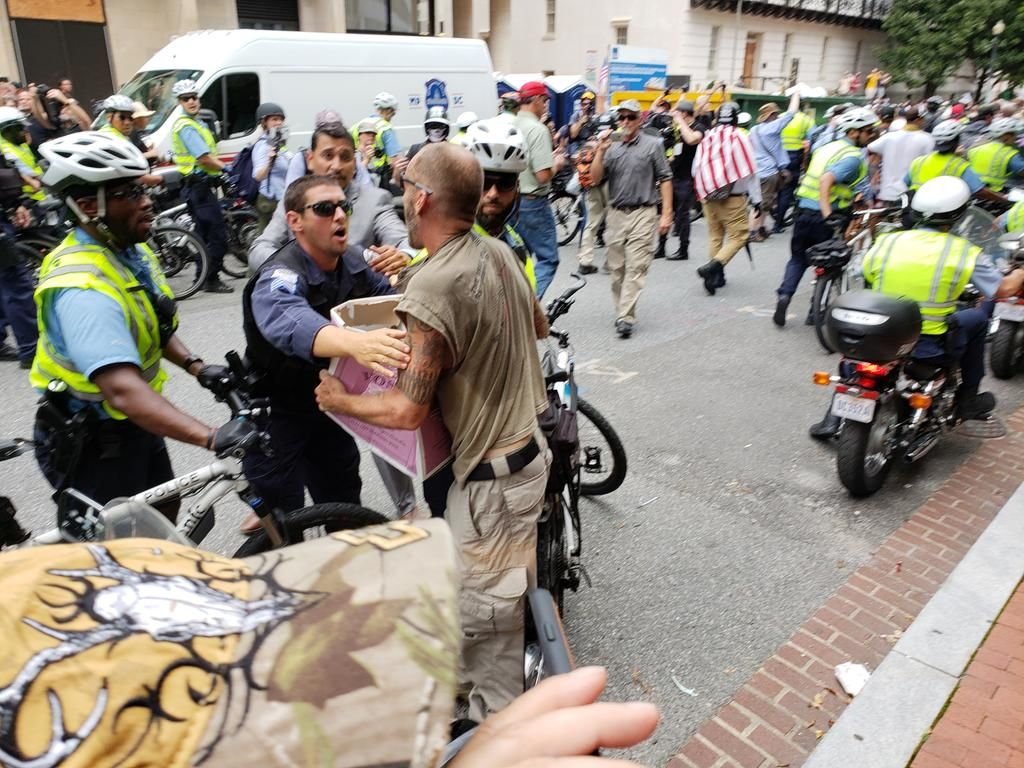D.C. police stop a man who rushed toward the white nationalists marching to Lafayette Square. (Courtesy Wilson Dizard)