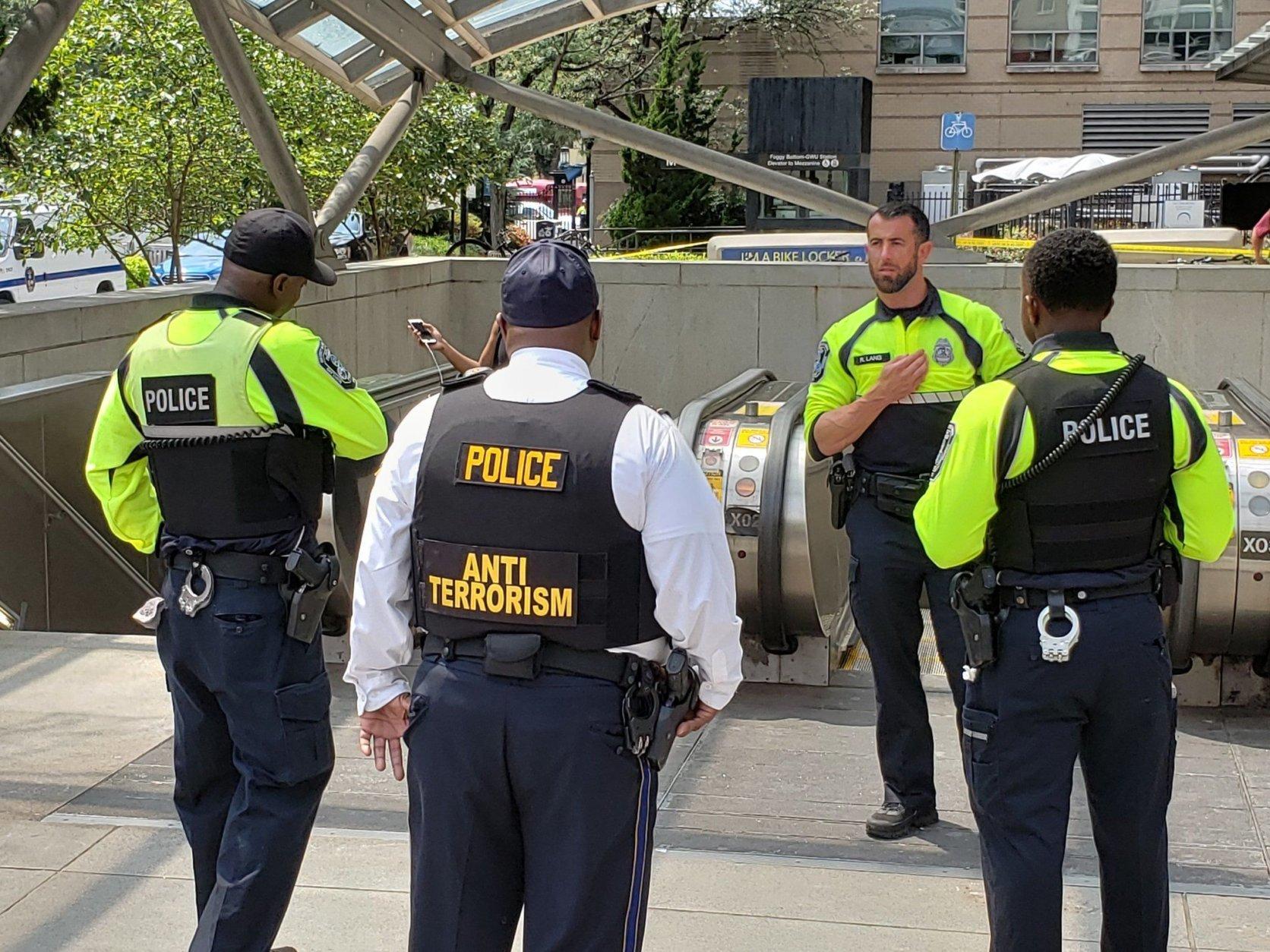 Police presence at Foggy Bottom Metro. (Courtesy Wilson Dizard)